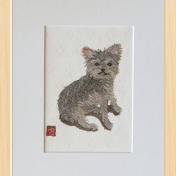 """Yorkshire Terrier and PInk Japanese Ikat Digital Reproduction (Economical Art Pr - Open edition digital reproduction of the mixed media: the original hand-torn newspaper collage art dog portrait """"Yorkshire Terrier"""" and the clay dye & the hand-made stencil.  Copyright © 2014 by Keiko Suzuki."""