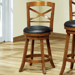 Monarch - 39in.H Swivel Counter Stool in Dark Oak Solid Wood - Set of 2 - Style or comfort? Why pick when this dark oak finish wood counter height stool blends both so seamlessly? With its plush black swivel seat, interlocking circle design and perfectly positioned circular footrest