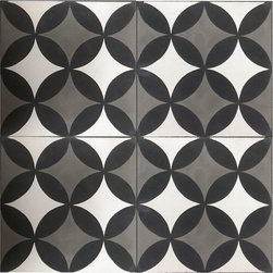 Handmade Cement Encaustic Tiles, Classic Black, White & Gray - Who doesn't love a bold black and white graphic pattern?