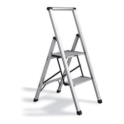 "Frontgate - Ultralight Slimline 2-Step Ladder - Nonmarring leg tips with nonslip rubber feet protect floors while keeping the ladder steady.. Conforms to ANSI Type I commercial standards. 250-lb. capacity. Just 2"" thick when folded. 8-1/2""-deep top platform. Weighing a mere 7 lbs. and measures just 2"" when folded, our Slimline Light Aluminum Ladder is our lightest deep-step ladder. It's crafted from aircraft-grade aluminum and features an 8-1/2""-deep nonslip platform for extra stability.  .  .  . Just 2' thick when folded .  . Steps are 10-1/4"" apart; from the floor to the first step is also 10-1/4"" ."