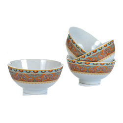 "Concepts Life - Concepts Life Bowl Set  Exotic Taste Collection, Set of 4 - Elevate ice cream, soup, or rice (even cereal!) to new heights in these beautiful hand-crafted porcelain exotic taste bowls. It all tastes better in these refined dining staples.  Set of 4 individual bowls in beautiful gift box Made of 100-percent porcelain; durable and versatile and light Gorgous colors Long lasting Dimensions: 5""w x 2.5"" h x 5""d Holds 12.5 ounces"