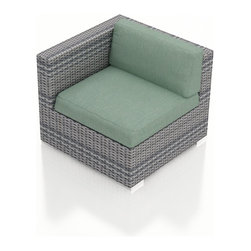 Harmonia Living - Urbana Wicker Modern Left Arm Chair, Weathered Stone Wicker, Spa Cushions - The Urbana Outdoor Wicker Left Arm Facing Chair with Turquoise Sunbrella Cushions (SKU HL-URBNWS-LAS-SP) is the perfect starting or end point for building your own stylish Urbana Sectional. Made with High-Density Polyethylene (HDPE) wicker, a fade-resistant color is designed to withstand the elements. The section is constructed with a sturdy, thick-gauged aluminum frame, protected with a powder coating for even greater corrosion resistance. The seats are also reinforced to provide support and prevent excessive wicker stretching from repeated use. Both seat and back cushions are included, with your choice among four fade- and mildew- resistant Sunbrella fabric options.