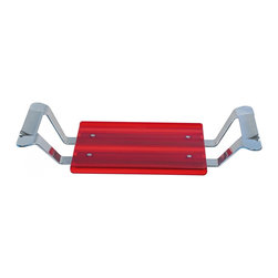 """WS Bath Collections - Leo 5369R Bathtub Seat in Red - Leo 5369 by WS Bath Collections 15.8 x 11.8 Bathtub Seat with up to 29.5"""" Extension, Supports with Bright Finish, Seat of Transparent Colored Polycarbonate or White ABS, Supports of Die-cast Aluminum Varnished, Screws of Stainless Steel"""