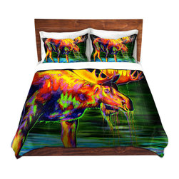 DiaNoche Designs - Duvet Cover Twill - Motley Moose - Lightweight and soft brushed twill Duvet Cover sizes Twin, Queen, King.  SHAMS NOT INCLUDED.  This duvet is designed to wash upon arrival for maximum softness.   Each duvet starts by looming the fabric and cutting to the size ordered.  The Image is printed and your Duvet Cover is meticulously sewn together with ties in each corner and a concealed zip closure.  All in the USA!!  Poly top with a Cotton Poly underside.  Dye Sublimation printing permanently adheres the ink to the material for long life and durability. Printed top, cream colored bottom, Machine Washable, Product may vary slightly from image.