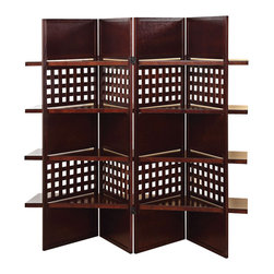 Adarn Inc - Contemporary Dark Brown Wood 4 Panel Room Divider Screen Display Storage Shelves - The modern style of this 4 Panel Wood Screen simply sweet and it is sure to compliment any home decor. Define space and create privacy with this screen, which is a simple, elegant way to divide a room. Room dividers are great for dorm rooms, bedrooms and other areas that need dividing or privacy solutions - also useful for creating separate spaces in a shared home office. This 4-panel folding screen features a pine wood frame. Add instant decor and privacy to your home with this beautiful floor screen.