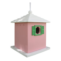 "Home Bazaar Inc. - Bermuda Birdhouse, Pink - This roof and color combination evoke the classic style and feeling of a ""Bermuda-ful"" Birdhouse. A removable back wall, drainage, ventilation, an unpainted interior and a 1 1/4 "" hole size will invite nesting birds in and keep larger ones out. Equipped with a heavy-duty nylon cord for hanging."