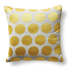 Frontgate - Pois Soleil Decorative Pillow - 100% linen. Modern embroidered dot design. Natural linen on the back. Matching corded edge provides a designer finish. Concealed zipper closure. Brighten bedding with the sunny, soft-contemporary style of Palm Beach. Our Pois Soleil Decorative Pillow by Iosis features a canary-colored embroidered dot that shines against the subdued tones of natural linen. . . . . . Luxuriously soft insert with 95% down, 5% feathers. From international luxury linen house Yves Delorme. Fresh yet sophisticated style complements our Douce Bedding and Palm Beach Resort collection. Dry clean. Made in France.