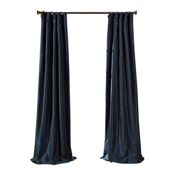 """Exclusive Fabrics & Furnishings, LLC - Navy Blue Faux Silk Taffeta Curtain - 56% Nylon & 44% Polyester. 3"""" Pole Pocket with Hook Belt. Lined. Interlined. Imported. Weighted Hem. Dry Clean Only. SOLD PER PANEL."""