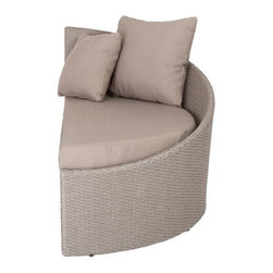"Linda Lounge Chair (Right Facing)-Tpe - 8mm polyethylene rattan in brushed taupeAluminum frameIncludes 1 seat cushion, 2 back pillows (1 lg, 1 sm)Taupe polyester water-resistant fabricIndoor/outdoor Fully assembled Seat: 15.5""height, 47.5""depth"