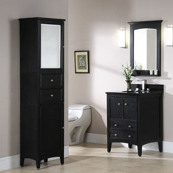 """Kent 24"""" Traditional Bathroom Vanity - The Xylem Kent 24"""" Traditional Bathroom Vanity Brown Ebony Finish, Solid Ash construction is striking with its solid Ash construction and typical Ash grain finish. The Kent vanity is available in 2 sizes and 2 finishes and is complimented by a modular storage system that can be configured for almost any bath."""