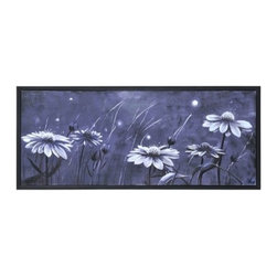 Ren-Wil - Ren-Wil OL855 Whispers Horizontal Canvas Wall Art by Mia Archer - This hand embellished whimsical image features a field of daisies in the midnight sky done in rich black and white and framed with a matching black frame.