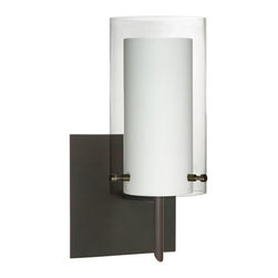 Besa Lighting - Pahu Bronze One-Light Halogen Square Canopy Wall Sconce with Clear and Opal Glas - - The clear blown glass complements the soft white Opal cased glass, which can suit any classic or modern decor. Opal has a very tranquil glow that is pleasing in appearance, as the clear glass sparkles with the accents from that glow. The smooth satin finish on the opal?s outer layer is a result of an extensive etching process. This blown glass combination is handcrafted by a skilled artisan, utilizing century-old techniques passed down from generation to generation.  - Bulbs Included  - Shade Ht (In): 7  - Shade Wd/Dia (In): 4  - Canopy/Fitter Ht (In): 5  - Canopy/Fitter Dia/Wd (In): 5  - Title XXIV compliant  - Primary Metal Composition: Steel  - Shade Material: Glass  - NOTICE: Due to the artistic nature of art glass, each piece is uniquely beautiful and may all differ slightly if ordering in multiples. Some glass decors may have a different appearance when illuminated. Many of our glasses are handmade and will have variances in their decors. Color, patterning, air bubbles and vibrancy of the d�cor may also appear differently when the fixture is lit and unlit. Besa Lighting - 1SW-C44007-BR-SQ