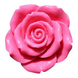 DaRosa Creations - Rose Drawer / Cabinet Knob, Hot Pink / Silver - Rose Drawer Knobs - Cabinet Pulls In Hot Pink with a Silver Stem
