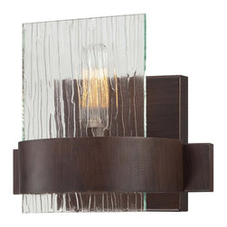 Savoy House - Brione 1-Light Sconce - Brione has updated modern styling with simple clean lines, hammered glass, nostalgia light bulbs, and a rich espresso finish.
