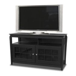 """Tech Craft - Tech-Craft Veneto 48"""" Hi-Boy Black Wood LCD/Plasma TV Stand - Tech Craft - TV Stands - BAY4828B. The Tech-Craft Veneto Series Black 48"""" Hi-Boy Wood Stand is perfect for a living room or bedroom setting. In a rich walnut finish the stand features beautiful framed doors that have a classic design suitable for any decor. With a convenient component slot and ample room for wire management the Veneto Series Black 48"""" Hi-Boy Stand is a great choice for people who like to keep their rooms tidy."""