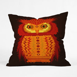 Red Owl Throw Pillow Cover - Nature meets geometry in this fiery owl pillow cover. Complement a monochrome couch or give your bed some spunk—either way, your room will instantly feel more lighthearted and homey.