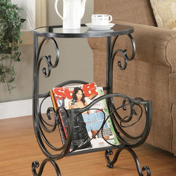 Coaster - Silver Traditional Accent Table - Metal and glass side table with glass top and scroll design magazine rack in gun metal finish.