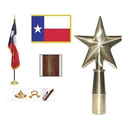 Flags - Great addition to your office or business, this set includes a dark oak pole, star ornament, nylon Texas flag with polehem and gold fringe, floor stand, cord and tassel.