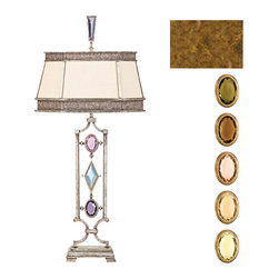Fine Art Lamps - Encased Multi-colored Gems Table Lamp, 730310-1ST - Make a striking crystal statement in your favorite setting with this table lamp. Choose from clear or warm shades to complement the golden finish.