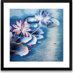 Art of Silk - Lotus Flower Pond - Hand Designed Silk Art, Silk Embroidery - Silk embroidery art was invented in China over 2,500 years ago. This high quality silk art is created using embroidery techniques developed from the world famous Suzhou style of silk embroidery. Each piece contains over 100,000 stitches on average.
