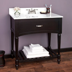 """33"""" Currie Vanity - Black - Undermount Sink - 4"""" Faucet Holes - White Crystalliz - With its sculpted legs and open bottom shelf, the 33"""" Currie Console Vanity is sure to create a bold statement in a master bath or guest bath. Features a Black finish with a decorative faux drawer adorned with a Brushed Nickel pull."""