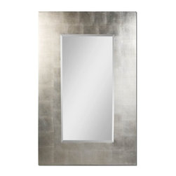 "Uttermost - Uttermost Rembrandt, Silver 56x36 Wall Mirror - Features a generous 8"" wide, flat profile frame finished in lightly antiqued silver leaf. Mirror has a 1 1/4"" bevel."