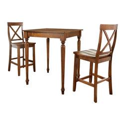 Crosley - 3 Piece Pub Dining Set - Turned Leg - X-Back Stools - Dimensions: 36 x 36 x 7 inches