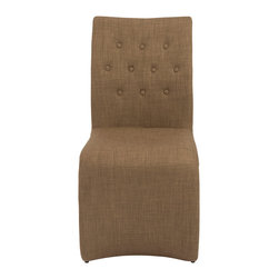 Euro Style - Euro Style Zad Side Chair Set of 2 38643MOC - No, you're not on a mission to Mars. It just looks that way. This is a great looking modern chair that is actually a steel frame chair fully covered in fabric and foam. Your choice of Mocha or Tan. 3-2-1-Houston, we have liftoff.