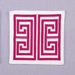 Magenta Greek Key Coaster - The Greek key is such a classic pattern you can be sure will never go out of style. Get this coaster in a bright pink for your summer drinks.