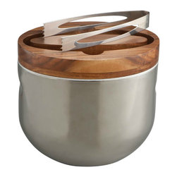Nambe Ice Bucket with Tongs - Sleek and contemporary with an ageless look, this ice bucket takes center stage on the bar and helps you avoid too many trips back to the freezer.