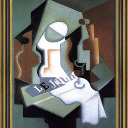 """Art MegaMart - Juan Gris Bottle and Fruit Dish - 21"""" x 28"""" Framed Premium Canvas Print - 21"""" x 28"""" Juan Gris Bottle and Fruit Dish framed premium canvas print reproduced to meet museum quality standards. Our Museum quality canvas prints are produced using high-precision print technology for a more accurate reproduction printed on high quality canvas with fade-resistant, archival inks. Our progressive business model allows us to offer works of art to you at the best wholesale pricing, significantly less than art gallery prices, affordable to all. This artwork is hand stretched onto wooden stretcher bars, then mounted into our 3 3/4"""" wide gold finish frame with black panel by one of our expert framers. Our framed canvas print comes with hardware, ready to hang on your wall.  We present a comprehensive collection of exceptional canvas art reproductions by  Juan Gris ."""