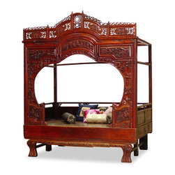"China Furniture and Arts - Antique Shang-Yu Bed - In ancient China the bed was the center of women's activities. The comforter was rolled away during the day and a small table was placed in the middle of the bed for women to sit around chatting, drinking tea and doing their needle works. The front of the exquisite frame is designed in all shapes with some resemble the traditional garden gate. Originated in the beautiful southern city Shang Yu, the framed bed is now a favorite item of contemporary interior designer. Carved of solid wood, this bed will add an exotic flavor to your home. Interior measurements are 80""Lx51""Wx61""H. 4""Thick foam pad can be purchased at $250.00. Displayed pillows not included. Assembly required (instructions will be provided)."