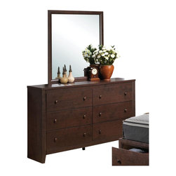 Coaster - Coaster Remington Dresser and Mirror Set in Cherry Finish - Coaster - Dressers - 202313202314PKG