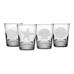 Susquehanna Glass - Seashore Double Old Fashioned Glass, 13.25oz, S/4 - Each 13.25 ounce heavy based tumbler features a different sand etched emblem of the sea, including a fan shell, star fish, sand dollar and nautilus shell. Dishwasher safe. Sold as a set of four. Made and decorated in the USA.