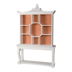 Dorothy Draper's Console and Curio - The original of this curio cabinet and console was designed by Dorothy Draper for The Greenbrier Hotel. This one comes in a variety of colors and fabrics.