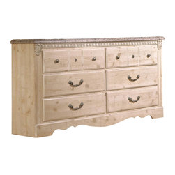 Standard Furniture - Standard Furniture Seville 63 Inch Dresser in Old Fashioned Wood - Seville offers a warm blend of soft tones and granite color illustrate the European Country style of this collection. Wood products with simulated wood grain laminates. This group may contain plastic parts. Metal is used for the grills. Drawers offer roller side drawer guides allowing for easy operation. Drawer stops are included for safety. Bail pulls and knobs with simulated pewter color finish. Old fashioned wood color and simulated Jura granite. Surfaces clean easily with a soft cloth.
