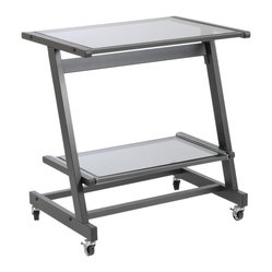 Zeus Computer Cart W/O Keyboard Tray-Grblk/Smkd - Let your desk follow you around the house as you find the perfect spot to work. This compact computer cart fits perfectly in a small area and has room for a laptop and printer. You'll love the minimalist style and the versatility it brings to your space.