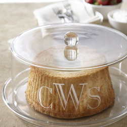 "Horchow - Monogrammed Cake Plate With Dome - From formal dining table to outdoor patio, this cake plate with dome is perfect for serving sweet treats or savory tidbits. Made of acrylic. Dishwasher safe. Personalization is one to three initials. 13.5""Dia. x 6.5""T. Imported. You will be able..."