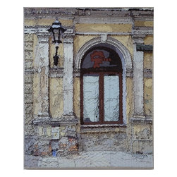 Krakow Window 1339, Original, Mixed Media - Digitally manipulated photography, pigment printing on silk, hand stitching, stretched canvas. Ready to hang...no need for framing (canvas edges are covered with silk).