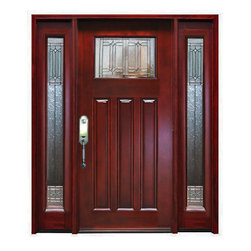 "BGW - BGW-M41 Mahogany Door with Sidelights - BGW-M41 Mahogany Door with sidelights. All glass is opaque architectural glass, dual paned (insulated) and tempered. Door comes with jambs, threshold, hinges and is stained and finished in a dark, rich, reddish brown mahogany color. The size is 61 1/4"" wide by 81"" tall and the jamb is 4 9/16""."