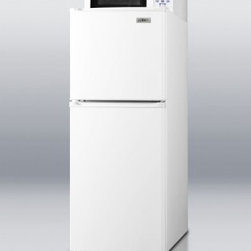 """Summit - MRF71 19"""" 4.8 cu. ft. Capacity Top-Freezer Refrigerator with 0.7 cu. ft. Midsize - Model MRF71 combines a mid-sized microwave with SUMMIT39s thin-line two-door FF71 refrigerator-freezer The complete unit has a conveniently slim under 19 width for an easy fit in any tight spot Reversible doors with door storage for large bottles add..."""