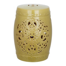 Safavieh - Valencia Garden Stool - Exquisitely crafted, the Valencia green ceramic garden stool features a pierced leaf medallion motif of Asian inspiration. Replete with lucky coin top detail and ceramic nailheads, Valencia is a timeless beauty.