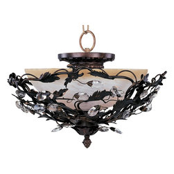 Maxim Lighting - Elegante Traditional Semi Flush Mount Ceiling Light - One of our most popular collections, Elegante combines lighting with decorating. Delicate leaves and crystals top the wrap-around vines. Offered in Etruscan Gold or Oil Rubbed Bronze.