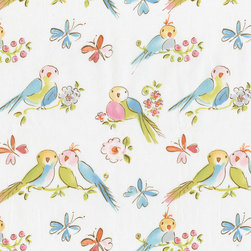 Love Birds Fabric - The sweetest little Love Birds ever adorn this fabulous fabric. Perched on flower branches and surrounded by butterflies in shades of pinks and mist blue, they are sure to win a place in your heart!