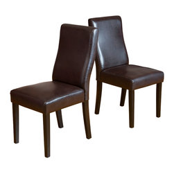 Great Deal Furniture - Heath Brown Leather Dining Chairs (Set of 2) - The Heath Dining Chairs are a perfect set to bring together any space in your home. They compliment almost any decor and even double as extra seating. These chairs will satisfy for years to come by offering comfort, style, and durability.