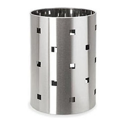 Blomus - Squaro Large Wastebasket - 65151 - Shop for Caddies and Stands from Hayneedle.com! It's all in the detail. The sharp design of the Squaro stainless steel wastebasket adds flair to a simple accessory and is a great touch to the inspired room. A sleek cylinder with plastic insert and square cutouts this funky wastebasket is an easy addition to any shining space. A perfect fit in a room with similar sharp clean decor.Hip and fun this wastebasket won't waste any space in your sleek bathroom.About BlomusBased in Sundern Germany Blomus is an international designer of functional and decorative stainless steel products for the home interior and exterior. Their aim is to harmonize form and function to create special products for everyday life such as kitchen accessories wellness elements patio accents and decorative items. Their designs soften the cold and sterile edge of stainless steel by combining it with other materials. For Blomus design is not an end in itself but an important part of everyday life.