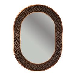 Premier Copper Products - 35 in. Hand Hammered Oval Copper Mirror with - Configuration: Oval. Design: Hammered Copper Surface with Hand Hammered Braid Design. Color: Oil Rubbed Bronze. Inner Dimension 27 in. x 18 in. x 1 in.. Outer Dimension: 35 in. x 26 in. x 1 in.. Installation Type: Wall Mount / Horizontal or Vertical. Material Gauge: Industry Best (18 Gauge Wrapped Around MDF Plywood). Hand Made. Mirror: Included. 100% Recyclable. Composition: 99.7% Pure Recycled Copper. Lead Free (