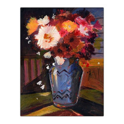 Trademark Art - Impressionist Still Life Art Print on Canvas - Choose size: 35 in. x 47 in.18 in. W x 24 in. L. 24 in. W x 32 in. L. 35 in. W x 47 in. LSheila Golden grew up in New York, attending the School of Visual Arts and the New School of Social Research in New York City, then worked in graphic design and illustration. After a move to California, she studied film animation, lithography and ceramics, and received her bachelor's degree in fine art. While living in California, Sheila became an important member of Artrails Open Studios and a guest artist in various schools, teaching classes on watercolor collage. In 1996, Sheila was chosen as an artist-in-residence at the well-regarded Buena Vista Winery in Sonoma.Sheila Golden has combined her multiple skills and talents to translate her love of nature into painting and collage. Her artwork is strongly influenced by the masters: Matisse, Chagall and Kandinsky, along with the great Abstract Expressionists. Sheila's commercial resume includes background art for Sesame Street, KQED Television, Hallmark, American Greetings and Sunrise Cards, among others, and is available in children's books, posters, prints, greeting cards and gift products. Her original watercolors and watercolor collages are exhibited in numerous juried art shows around the country and her work is represented in private as well as corporate collections in major cities like New York, Chicago, Washington, D.C., San Francisco, Hong Kong, Italy and Germany.