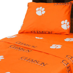 College Covers - NCAA Clemson Tigers Collegiate Orange Twin X-Long Bed Sheets - Features: