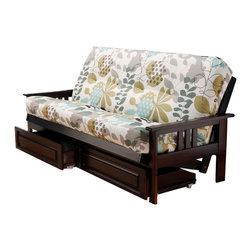 Kodiak Furniture - Monterey Espresso Futon Frame with Futon Mattress in English Garden, With Full D - High quality materials, beautiful colors and unique pattern are harmoniously combined in this wonderful futon set (Espresso solid wood frame and innerspring mattress in English Garden (pattern) cover). This futon frame is easy to convert from sofa to bed position and back. Available with or without drawers.